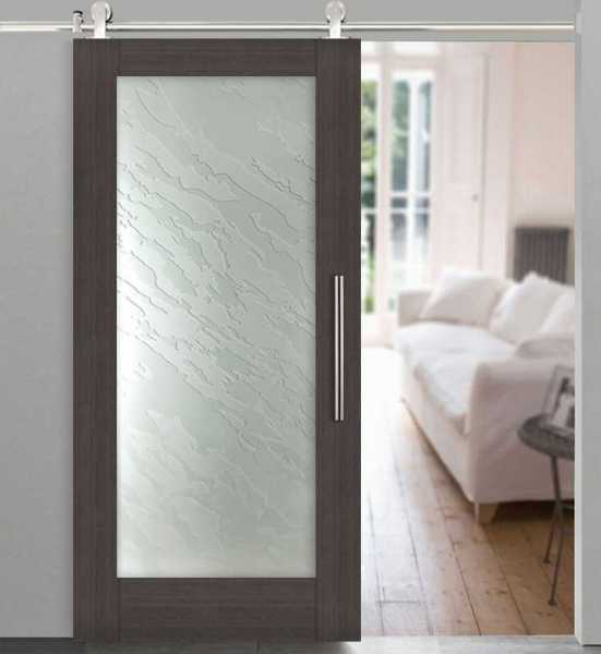 Veneer Wood Glass Barn Door WGD-0005