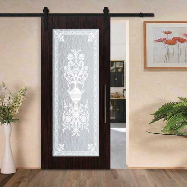 Sliding veneered barn door with textured glass insert (victorian frosted design) and carbon steel sliding system