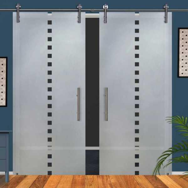 Double Glass Barn Door (Model DSGD-V1000-0047 Semi-Private)