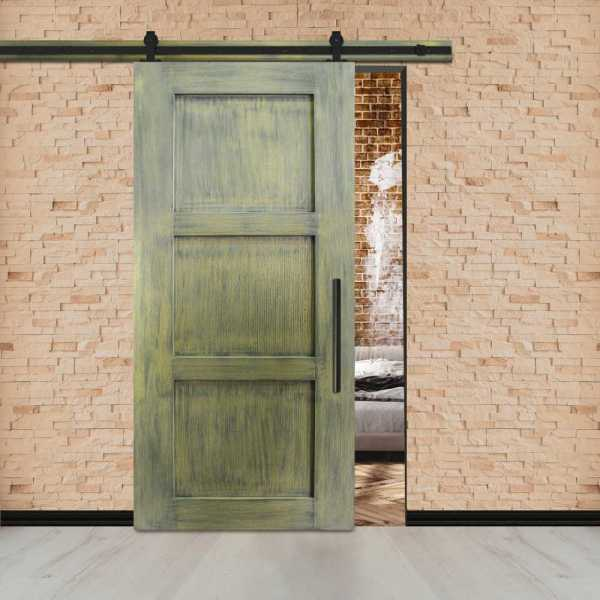 Vintage Ranch Sliding Barn Door with 2 Center Brace & Carbon Steel Hardware.