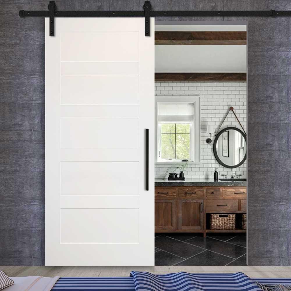 5 Panel Sliding MDF Shaker Barn Door SWD-0005 | Glass-Door ...