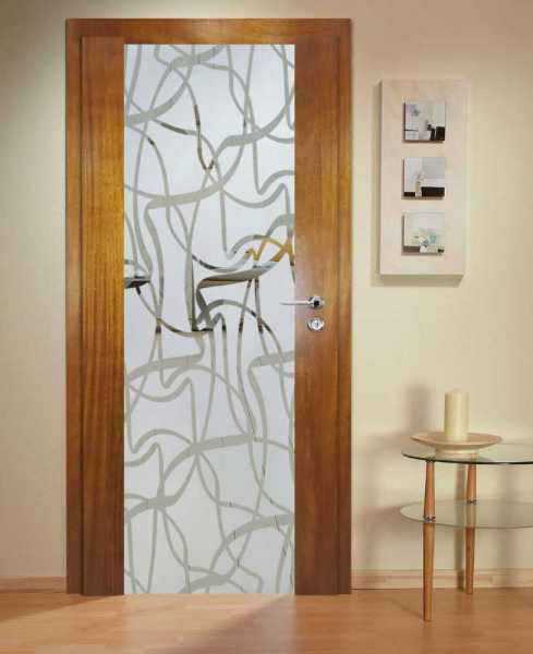 Solid Wood Hinged Door with Glass Insert HWDI-0020