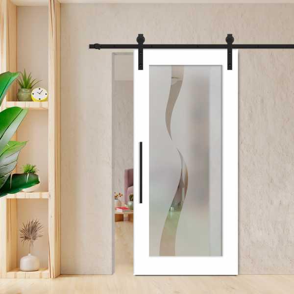 Sliding Barn Door (Model WGD-0002 Semi-Private) with Carbon Steel Sliding System