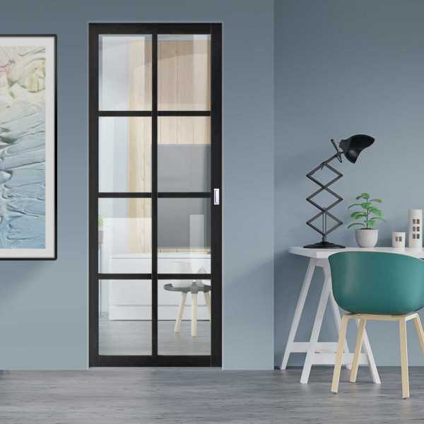 Industrial Style Pocket Door with Clear Glass 8 Panels & Rectangular Stainless Steel Grip Handle