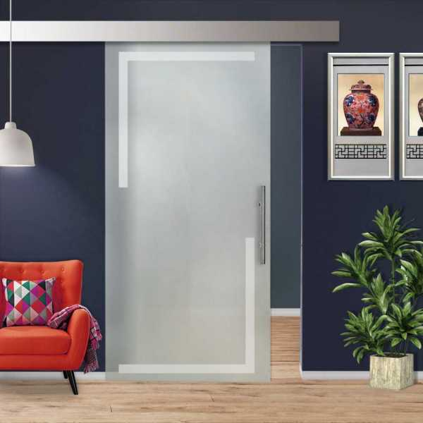 """Sliding Glass Barn Door, 34""""x84"""" Glass Thickness: 10mm and Full Private Design (20% OFF)"""