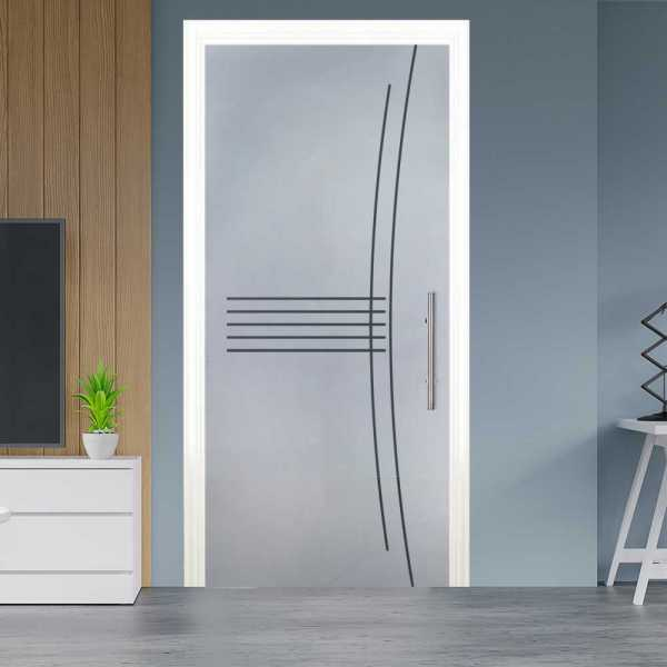 Sliding Pocket Glass Door with Frosted Design with Track System PSGD-0003