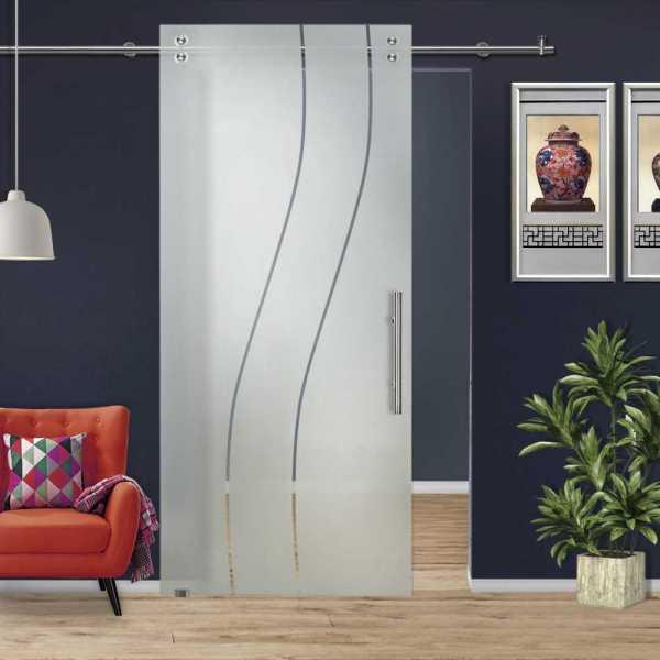 Single Sliding Barn Glass Door SGD-V2000-0229