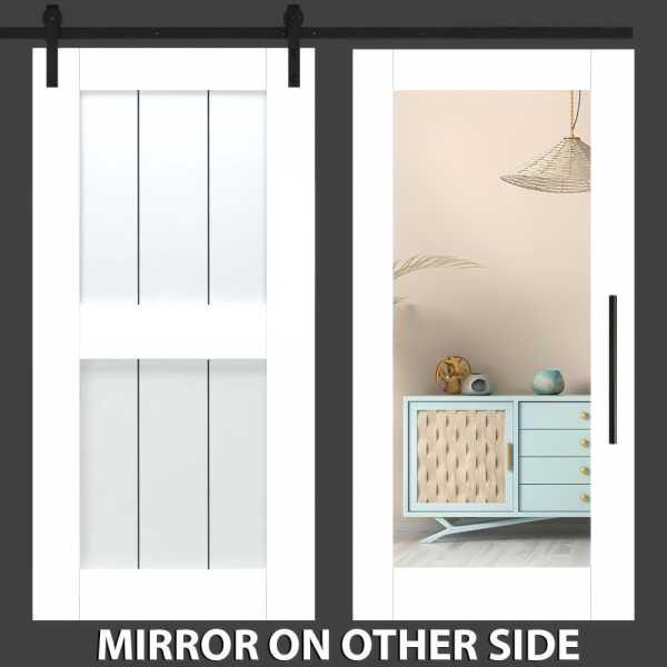 Diagonal Mirror Solid Sliding Barn Door with Mirror Insert WMD-0012