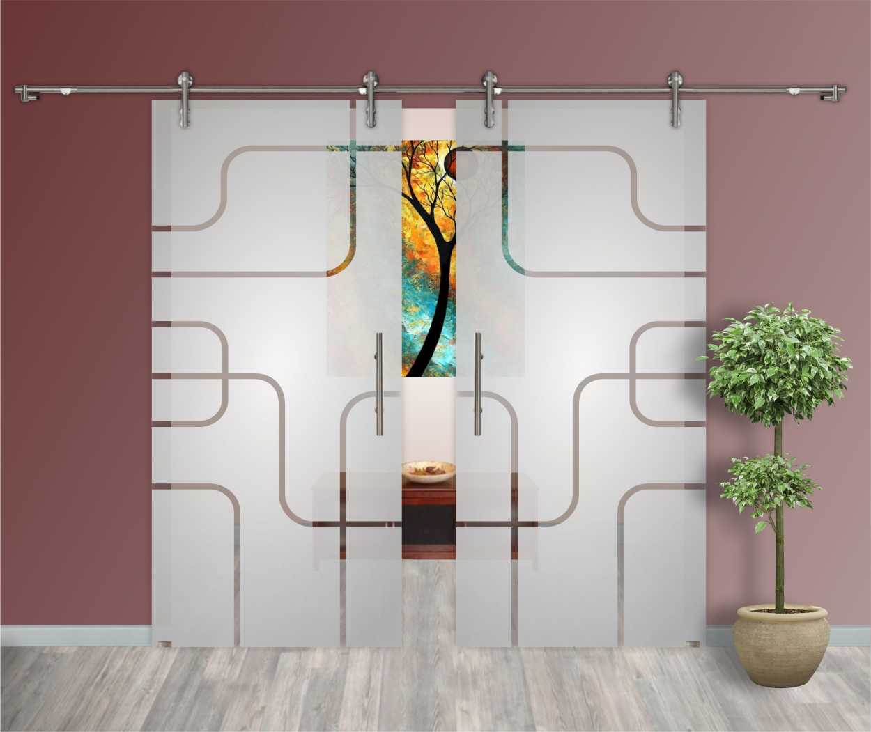 2 Leaf Glass Barn Doors Partially Frosted Clear Lines Design