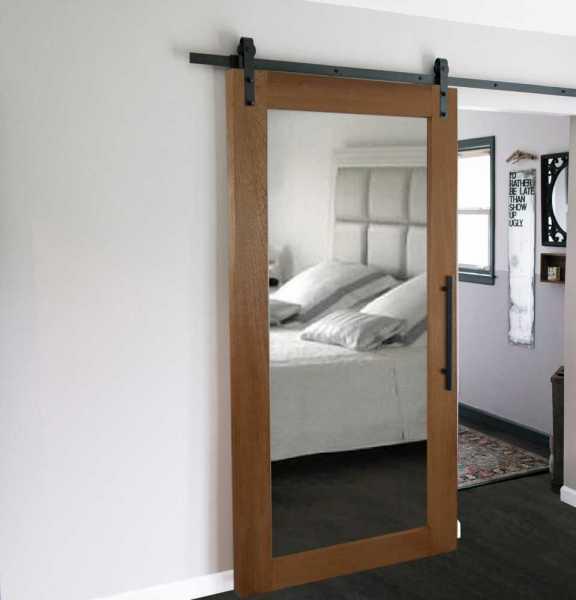 Real Solid Hardwood Sliding Barn Door with Mirror Insert WD-0004