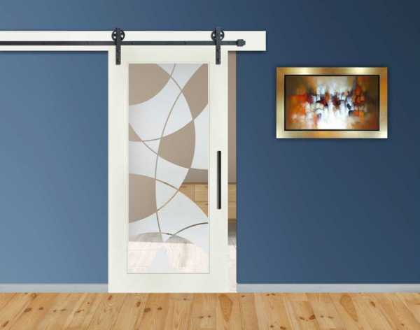 1 Lite MDF Sliding Barn Door with Glass Insert WGD-0016