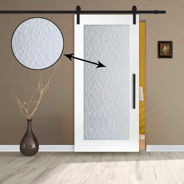 1 lite MR MDF sliding barn door with textured glass insert and carbon steel sliding system