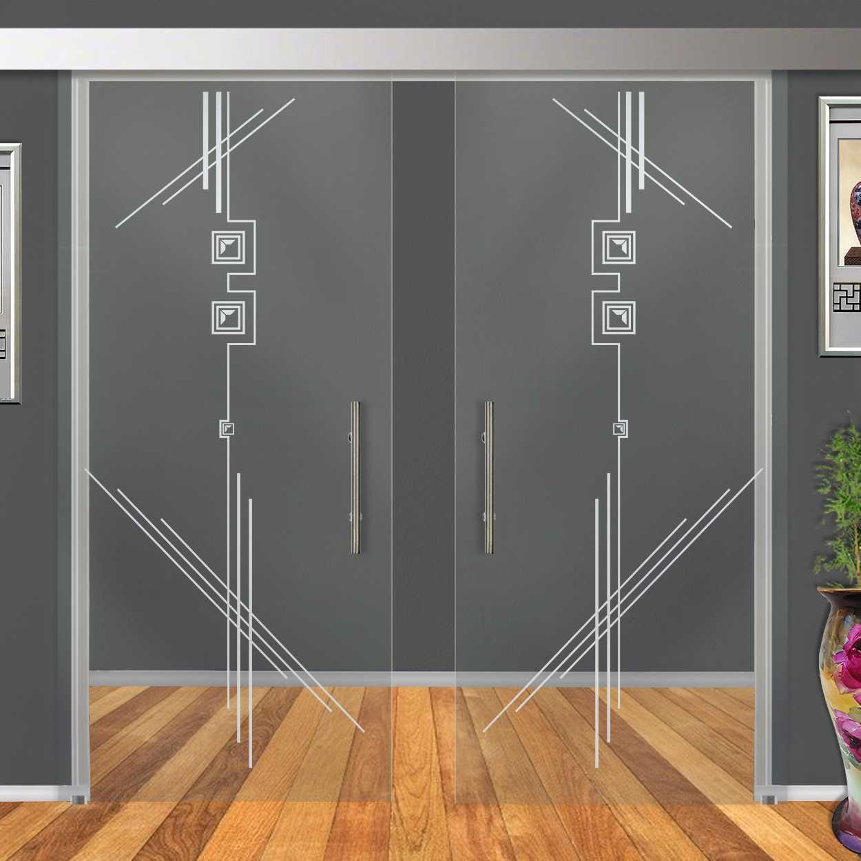 Glass Barn Sliding Doors: Double Glass Sliding Barn Doors With Sliding System