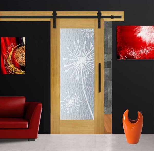 Real Solid Hardwood Sliding Barn Door with Aquatex Glass Insert WGD-0074