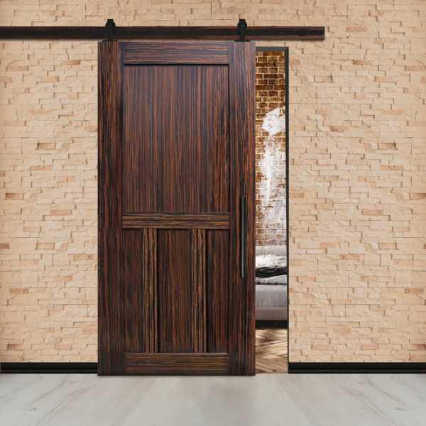 Ebony Flush Sliding Double T Brace Barn Door & Carbon Steel Hardware.