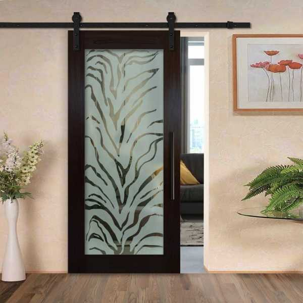 Hardwood Mahagony Sliding Barn Door with Glass Insert Included Hardware WGD-0041