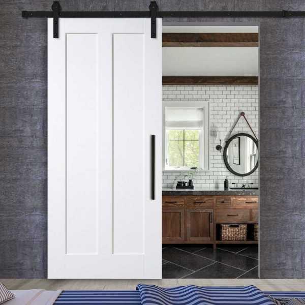 2 vertical sliding MR MDF shaker barn door with carbon steel sliding system