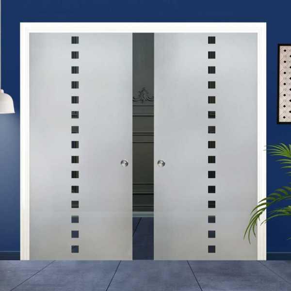 Double Pocket Glass Barn Door (Model DPSGD-0003 Semi-Private)_Recessed Grip Handle