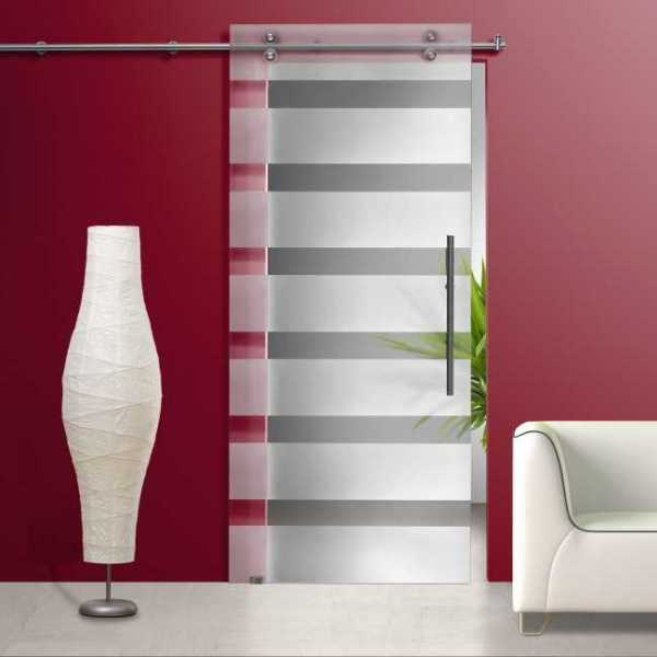 Glass Barn Door With Sliding System + Frosted / Sandblasted + Clear Horizontal Lines Design