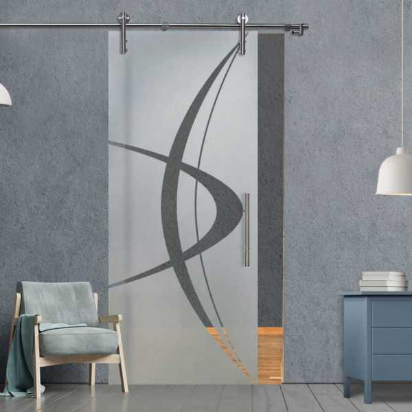 Glass Barn Door SGD-V1000-0053 Semi-Private