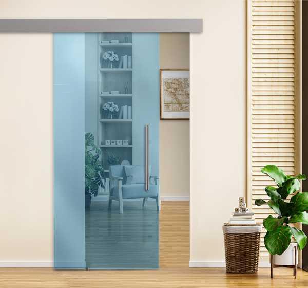 Arctic Blue Tinted Glass Sliding Barn Door