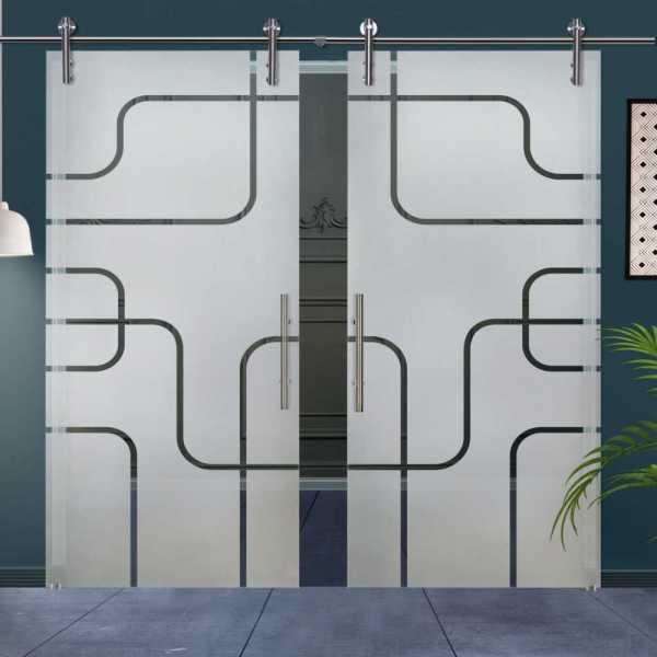 Double Glass Barn Door (Model DSGD-V1000-0011 Semi-Private)