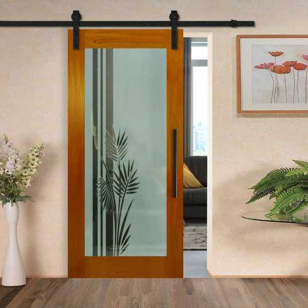 Real Solid Hardwood Sliding with Glass Insert WGD-0022