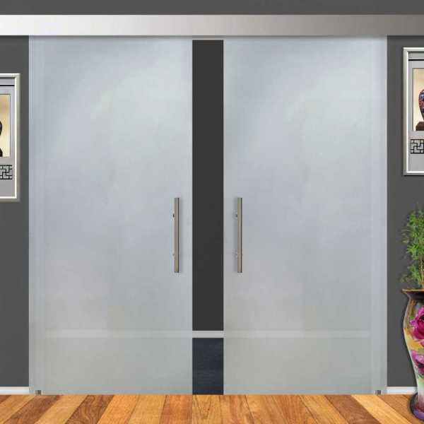 double sliding glass barn doors sandblasted frosted - Frosted Glass Barn Door