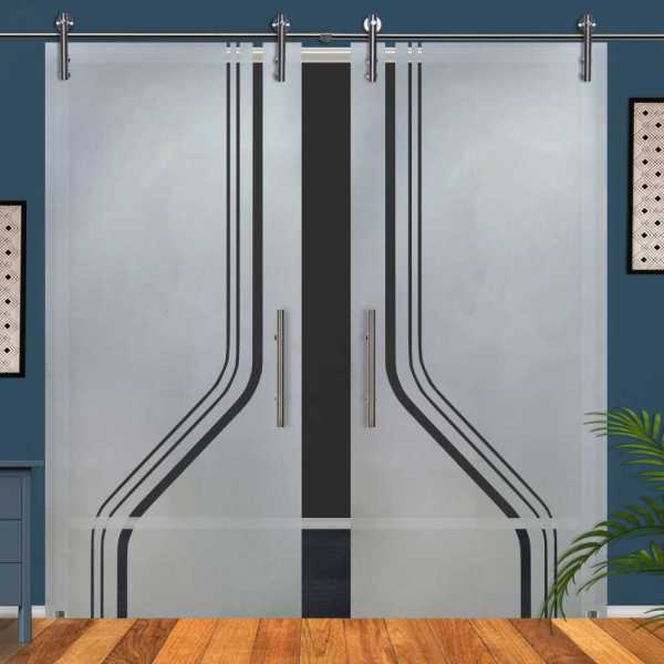 Double Glass Barn Door (Model DSGD-V1000-0061 Semi-Private)