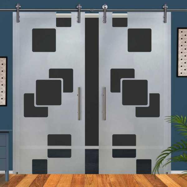 Double Glass Barn Door (Model DSGD-V1000-0067 Semi-Private)