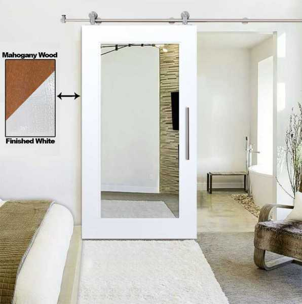 Real Solid Hardwood Sliding Barn Door with Mirror Insert_ Carbon Steel