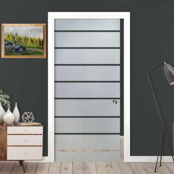 Pocket Sliding Glass Door with Frosted Design PSGD-0401