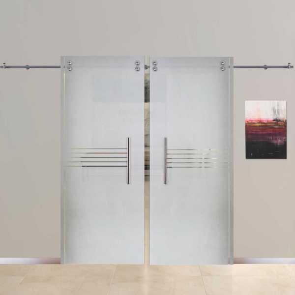 Sliding Glass Barn Door SGD-V2000-0010 semi-private