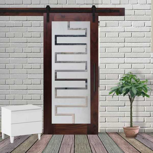 1 Lite Walnut Hardwood Sliding Barn Door with Glass Insert WGD-0101