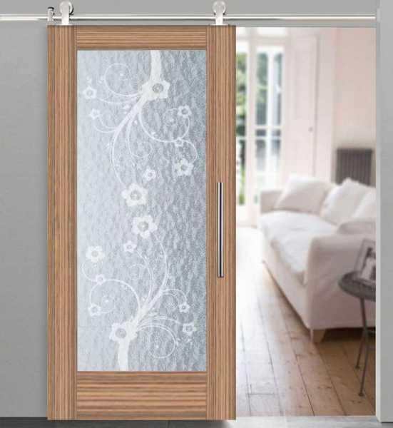 Veneer Wood Rain-Glass Barn Door WRGD-0006