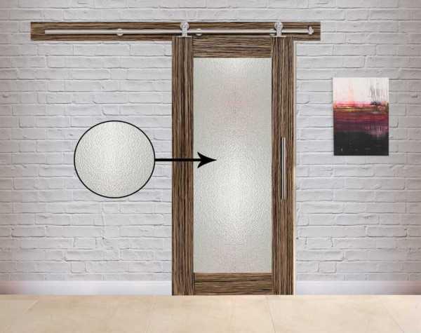 Veneered Sliding MDF-Hammered Wood Barn Door with Glass Insert VWGD-0041