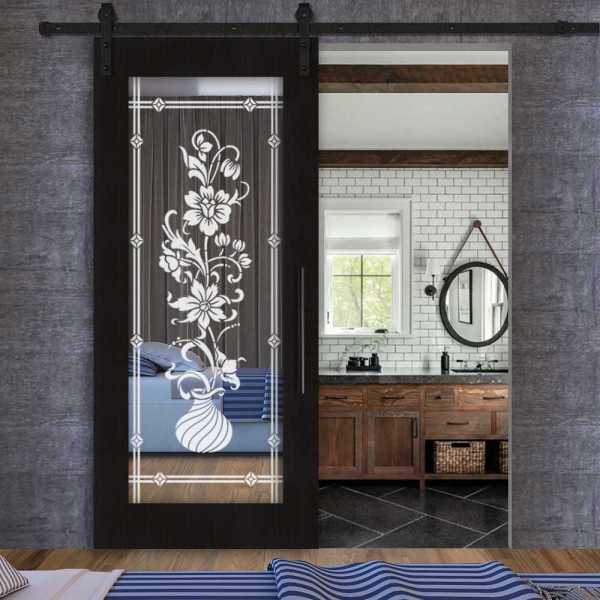 Sliding MR MDF wenge veneered barn door with mirror insert (frosted design) and carbon steel sliding system