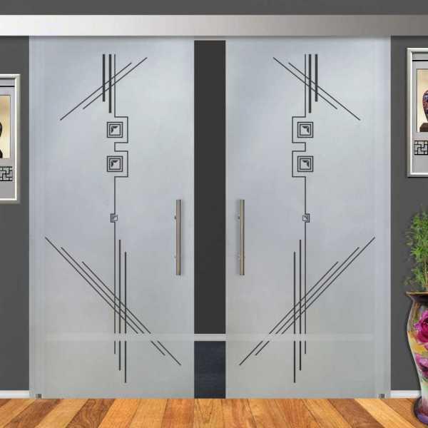 2-Leaf Glass Barn Door (Model DSGD-ALU100-0002 Semi-Private)
