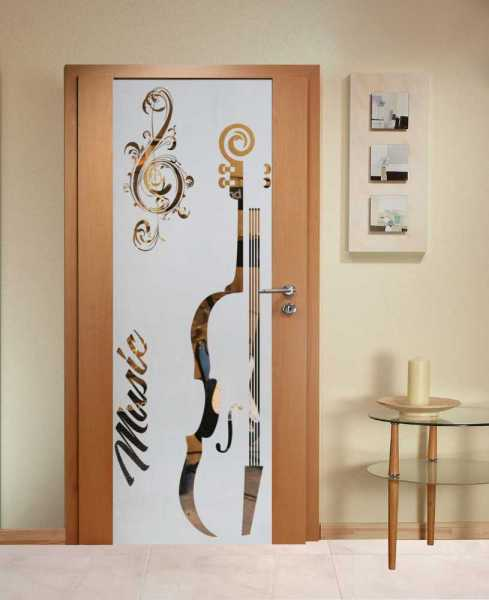 Music Room Solid Wood Hinged Door with Glass Insert CHWDI-0007