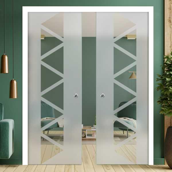 Double Pocket Glass Barn Door (Model DPSGD-0168 Full-Private)_Handle Bar