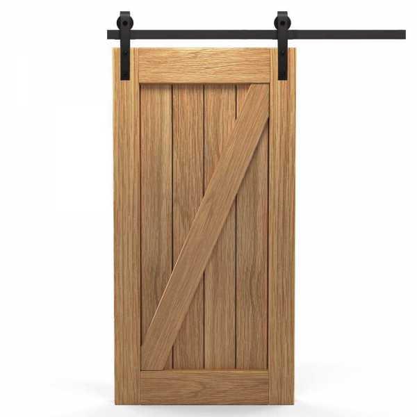 Real Solid Hardwood Diagonal Sliding Barn Door WD-0010