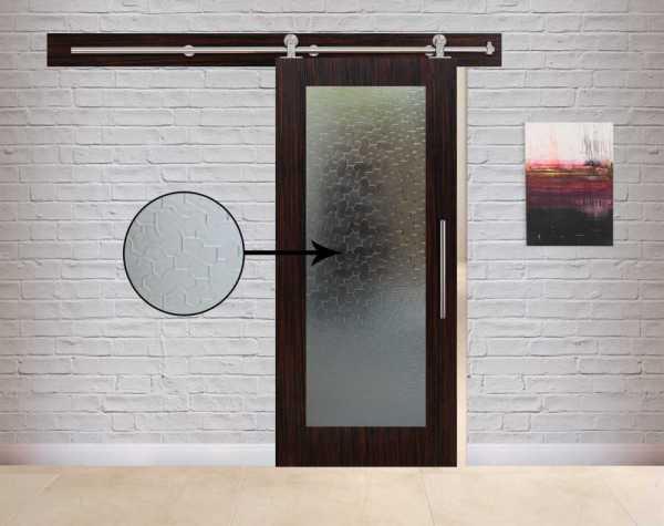 Veneered Sliding MDF-Karatachi Wood Barn Door with Glass Insert VWGD-0039