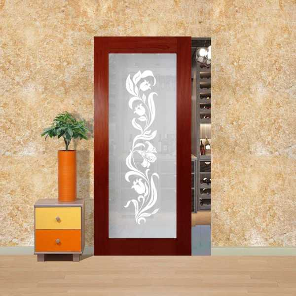 "Solid Mahogany Wood SlidingDoor, 36"" x 80"", Mahogany 5 Stain and Opaque Design Without Hardware"