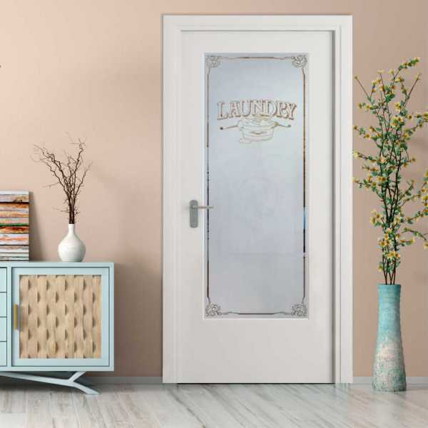Laundry Room MDF Hinged Doors with Glass Insert CHMDI-0001