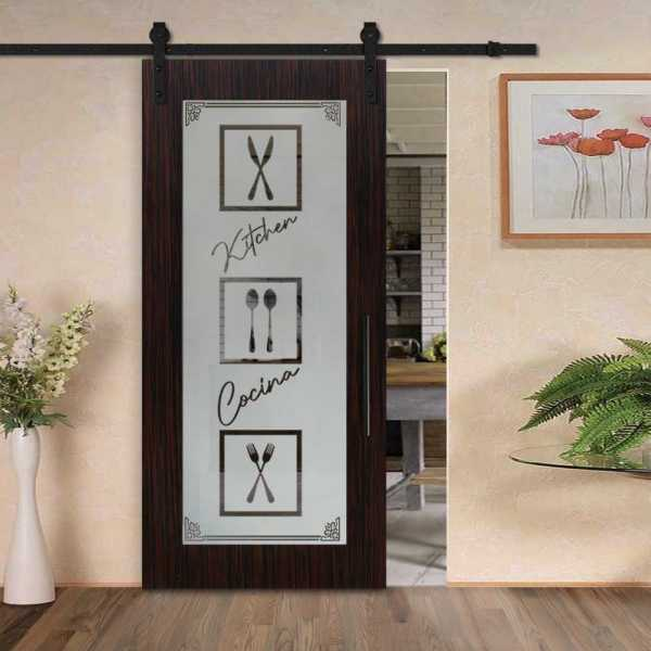 Veneered Pantry Room Sliding MDF Wood Barn Door with Glass Insert VWGD-0023