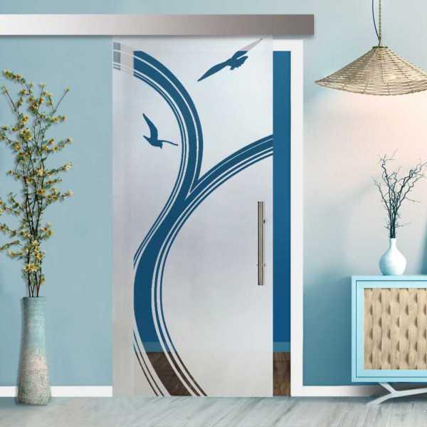Glass Barn Door (Model SGD-ALU100-0120 Semi-Private)