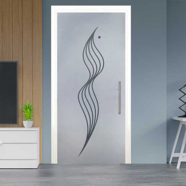 Sliding Pocket Glass Door with Frosted Design and Hardware PSGD-0015