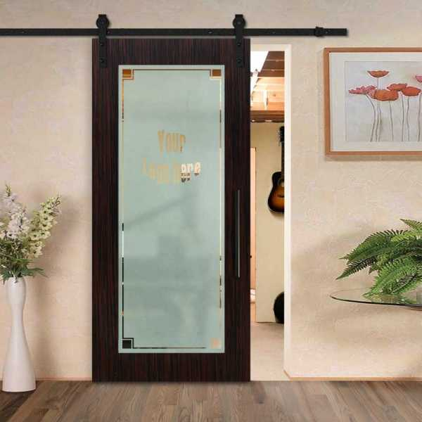 Customized Veneered Sliding MDF-Glass Barn Door VWGD-0030