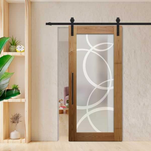 "1x Hardwood sliding barn door included hardware extra length rail Custom size 51"" x 86"", Full privat"