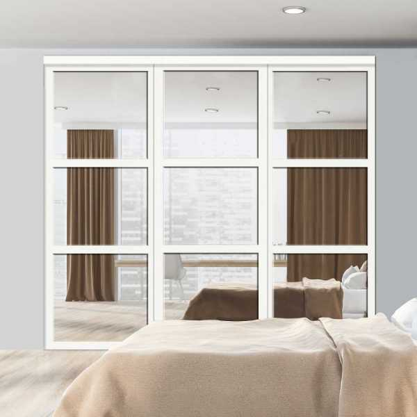 3 Sliding Bypass Closet Door with Beveled Edge Mirror Insets